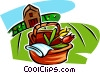 Vector Clipart graphic  of a flowers in a basket