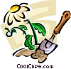 flower and a garden trowel Vector Clip Art graphic