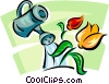 Vector Clipart image  of a flowers and a watering can