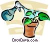 potted plant receiving water from a spray bottle Vector Clipart image