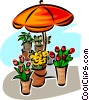 Flowers under an umbrella Vector Clip Art image