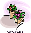 flowers in planters Vector Clipart graphic