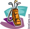 Vector Clipart picture  of a golf bag with clubs