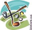 Vector Clipart image  of a golf clubs and balls