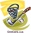 golf club and bucket of balls Vector Clipart picture