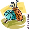 golf bag and umbrella Vector Clipart illustration