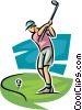 Vector Clipart graphic  of a golfer swinging the club