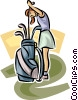 female golfer selecting a club Vector Clipart illustration