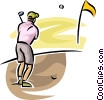 Vector Clip Art image  of a golfer playing the ball out of
