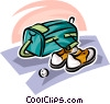 golf bag and shoes Vector Clip Art picture