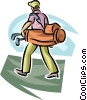 Vector Clip Art graphic  of a Golfer carrying his bag