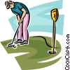 golfer putting the ball Vector Clipart graphic