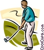 Vector Clip Art graphic  of a golfer about to take a shot
