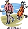 Vector Clip Art picture  of a golfer with his clubs