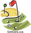 golf balls on the green around the flag Vector Clip Art graphic