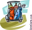Golf clubs on a cart Vector Clip Art image