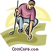 Vector Clip Art picture  of a golfer placing his ball