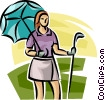 female golfer standing with an umbrella Vector Clip Art graphic
