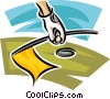 Vector Clip Art image  of a golfer taking his ball out of