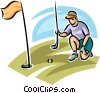 golfer lining up her putt Vector Clipart illustration
