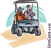 Golfer driving a cart Vector Clipart illustration