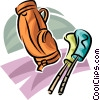 Vector Clip Art graphic  of a golf bag and clubs