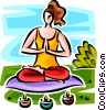 Vector Clipart picture  of a woman doing yoga