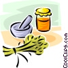 mortar and pestle with preserves Vector Clipart image
