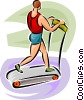 Man running on a treadmill Vector Clipart graphic