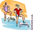 women doing aerobics Vector Clipart picture