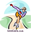 Vector Clipart graphic  of a person rollerblading