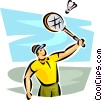 Man playing badminton Vector Clipart illustration