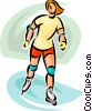 Vector Clip Art image  of a woman on roller blades
