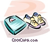 pair of running shoes beside the scale Vector Clipart picture