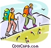Vector Clip Art graphic  of a Hikers walking up hill