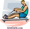 Vector Clip Art image  of a rowing machine