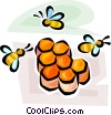 honeybee and honeycomb Vector Clipart graphic
