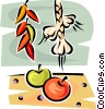 garlic, peppers and tomatoes Vector Clipart graphic