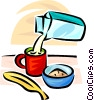 Vector Clip Art picture  of a milk carton, coffee cup, cold cereal