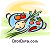 Vector Clip Art picture  of a vegetables on a platter