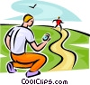 person running while being timed Vector Clip Art image