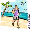 Vector Clip Art image  of a man running on the beach