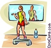 Vector Clipart illustration  of a woman lifting weights