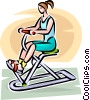 Woman working on an exercise machine Vector Clip Art image
