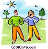 Vector Clipart picture  of a couple stretching