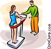 Vector Clip Art graphic  of a Woman on an exercising machine