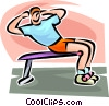 Vector Clip Art graphic  of a man doing sit-ups