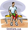 Vector Clip Art image  of a man exercising