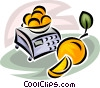 bowl of oranges on a scale Vector Clipart picture