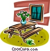 flowers in a vase sitting on a picnic table Vector Clipart illustration